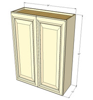 Large Double Door Nantucket Linen White Wall Cabinet - 24 Inch Wide x 42 Inch High