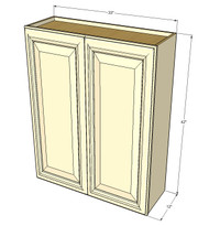 Large Double Door Nantucket Linen White Wall Cabinet - 33 Inch Wide x 42 Inch High