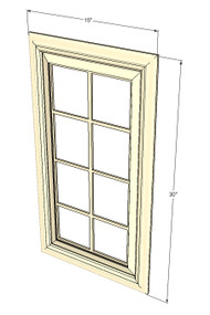 Nantucket Linen White Mullion Glass Door - 15 Inch Wide x 30 Inch High