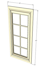 Nantucket Linen White Mullion Glass Door - 18 Inch Wide x 42 Inch High