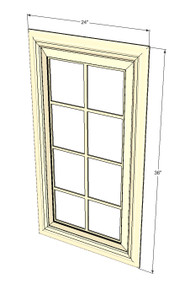 Nantucket Linen White Diagonal Mullion Glass Door - 27 Inch Wide x 42 Inch High