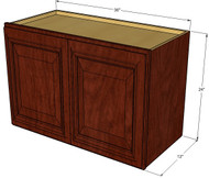 Brandywine Maple Horizontal Overhead Wall Cabinet - 36 Inch Wide x 24 Inch High