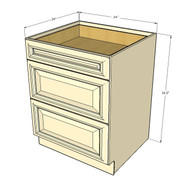 Nantucket Linen White 3 Drawer Base Cabinet 24 Inch