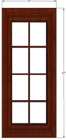 Brandywine Maple Mullion Glass Door - 15 Inch Wide x 42 Inch High
