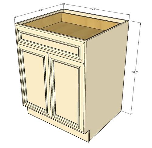 Tuscany White Maple Medium Base Cabinet with Double Doors ...