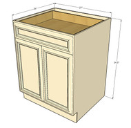 Tuscany White Maple Medium Base Cabinet with Double Doors & Single Drawer - 27 Inch Width