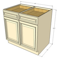 Tuscany White Maple Large Base Cabinet with Double Doors & Two Drawers - 36 Inch Width