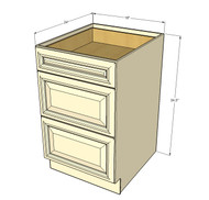 Tuscany White Maple 3 Drawer Base Cabinet 18 Inch