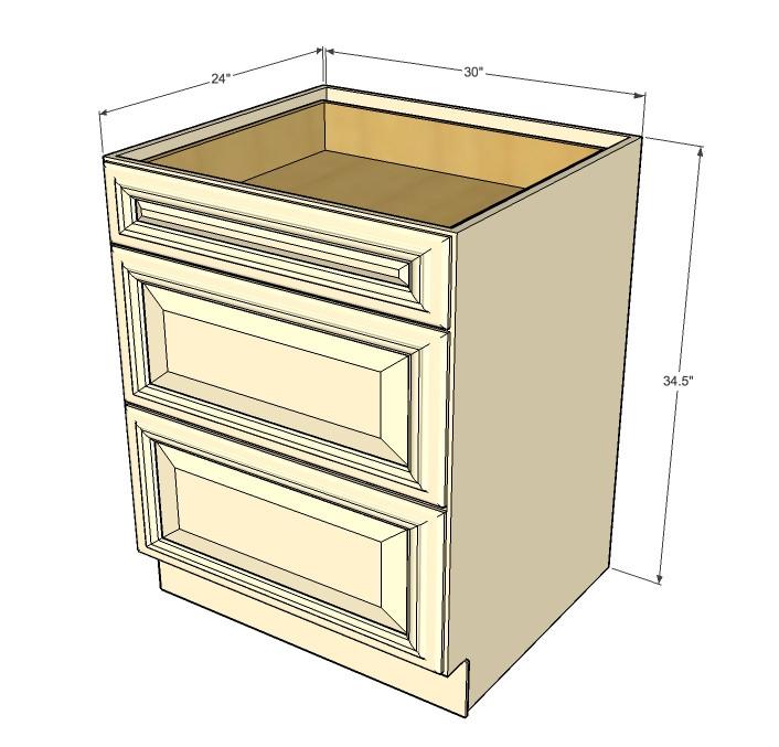 Tuscany White Maple 3 Drawer Base Cabinet 30 Inch ...