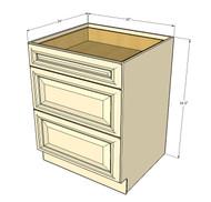 Tuscany White Maple 3 Drawer Base Cabinet 30 Inch
