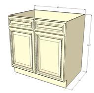 Tuscany White Maple Sink Base Unit with 2 False Drawers 30 Inch