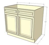 Tuscany White Maple Sink Base Unit with 2 False Drawers 36 Inch