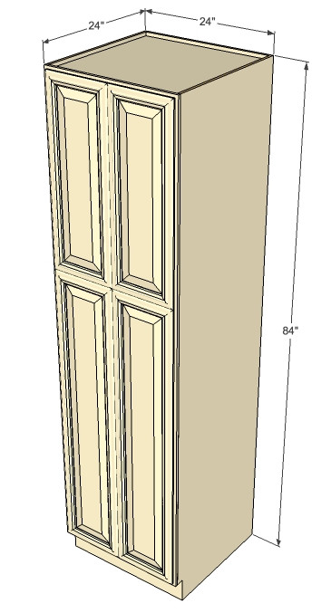 Tuscany White Maple Pantry Cabinet Unit 24 Inch Wide x 84 ...