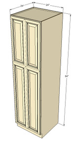 Tuscany White Maple Pantry Cabinet Unit 24 Inch Wide x 84 Inch High