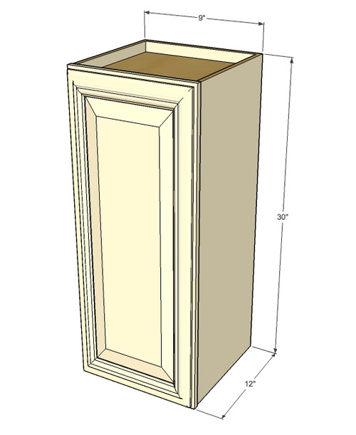 small single door tuscany white maple wall cabinet 9 inch wide x 30 inch high kitchen. Black Bedroom Furniture Sets. Home Design Ideas