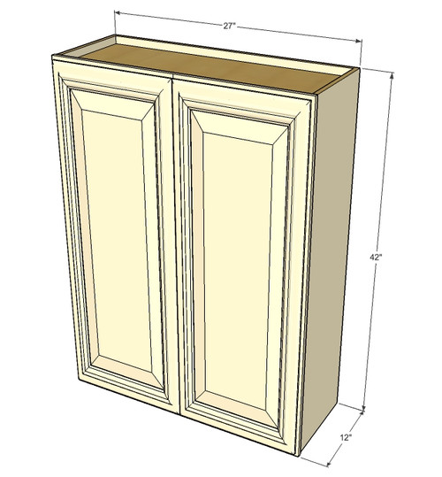 Large Double Door Tuscany White Maple Wall Cabinet 27 Inch Wide X 42 Inch High