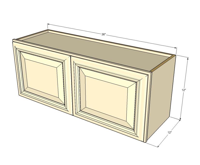 Tuscany White Maple Horizontal Overhead Wall Cabinet - 36 ...