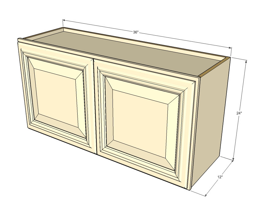 Tuscany White Maple Horizontal Overhead Wall Cabinet 36 Inch Wide X 24 Inch High Kitchen Cabinet Warehouse