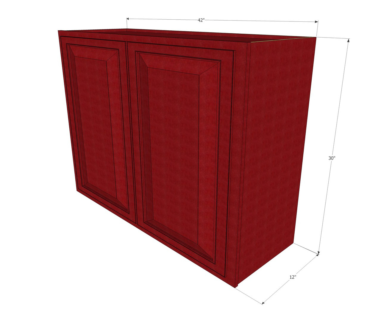 large double door grand reserve cherry wall cabinet - 42 inch wide x 30 inch high file cabinet