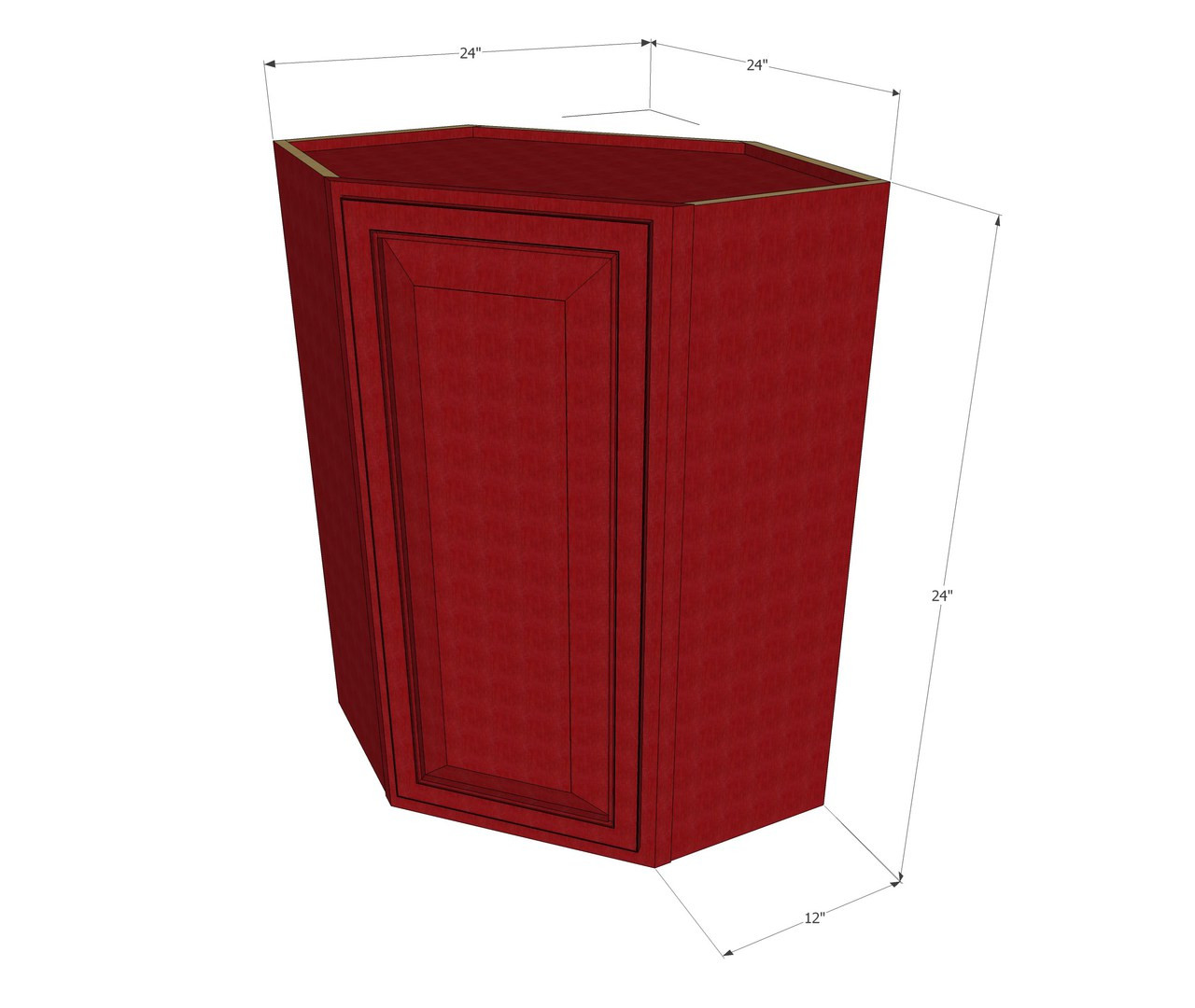 grand reserve cherry diagonal corner wall cabinet - 24 inch wide x