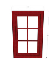 Grand Reserve Cherry Diagonal Mullion Glass Door - 24 Inch Wide x 30 Inch High
