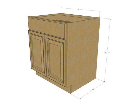 Regal Oak Medium Base Cabinet with Double Doors & Single ...