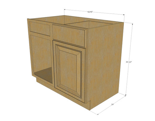 42 inch base kitchen cabinet regal oak corner blind base cabinet 42 to 45 7353