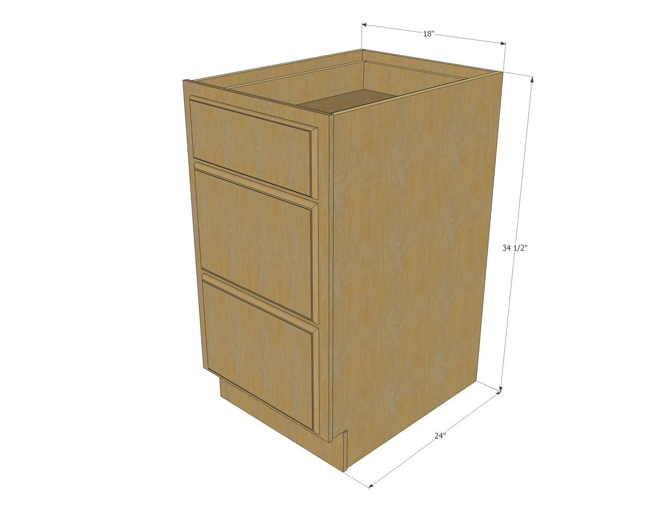 regal oak 3 drawer base cabinet 18 inch - kitchen cabinet warehouse