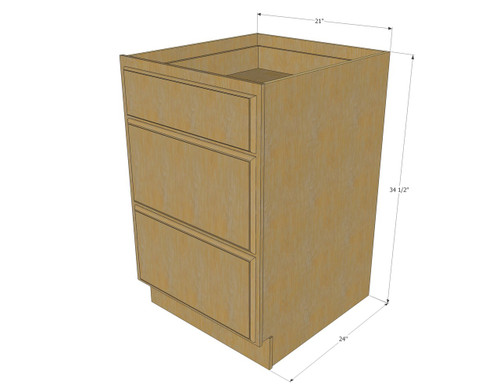 Regal Oak 3 Drawer Base Cabinet 21 Inch Kitchen Cabinet