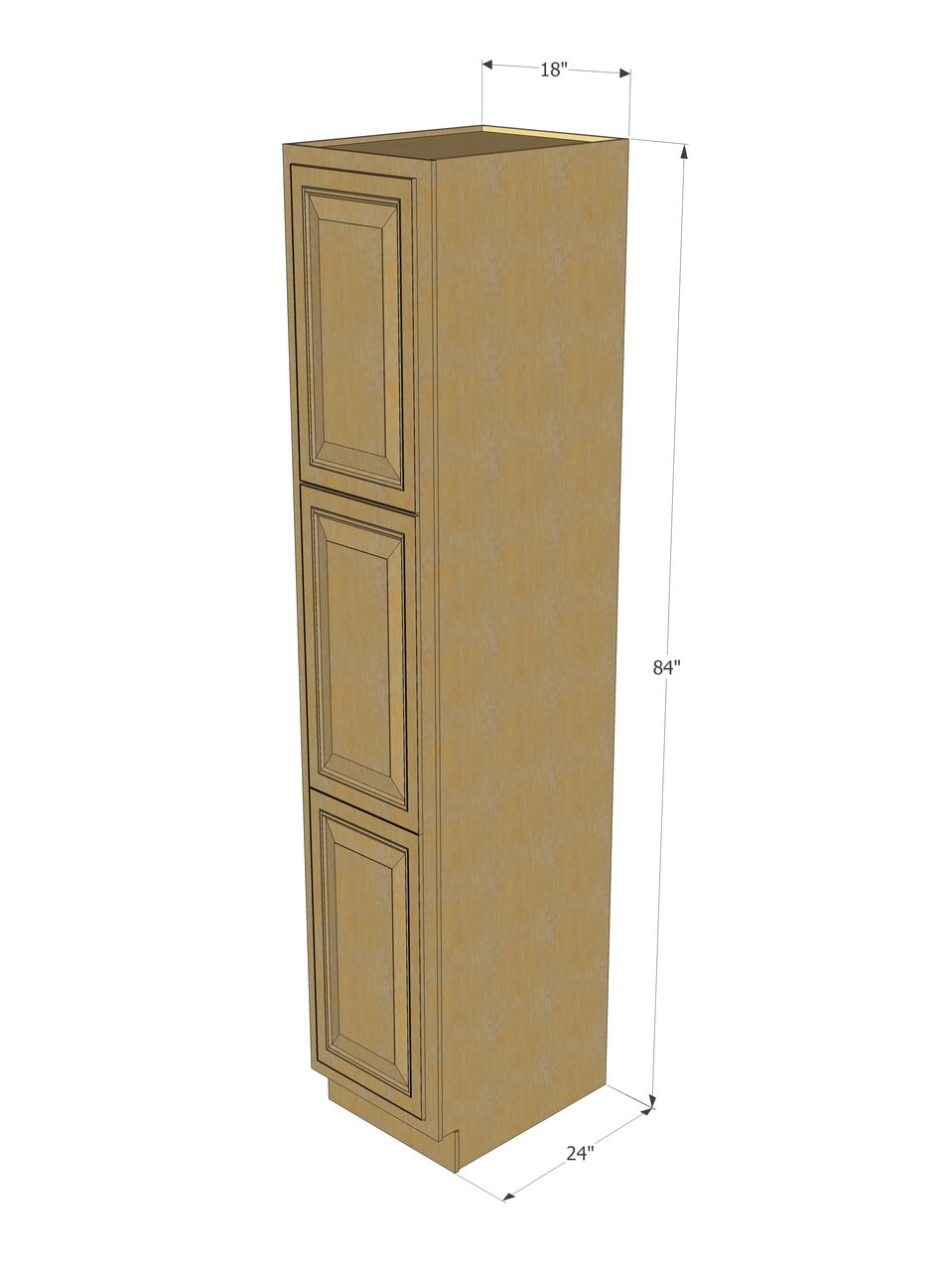 Regal Oak Pantry Cabinet Unit 18 Inch Wide X 84 Inch High