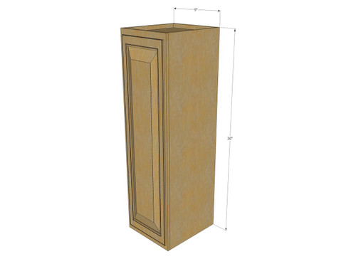 Small Single Door Regal Oak Wall Cabinet - 9 Inch Wide x ...