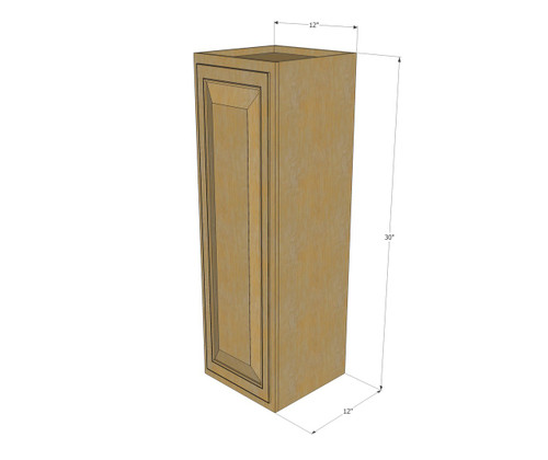 Small Single Door Regal Oak Wall Cabinet 12 Inch Wide X 30 Inch