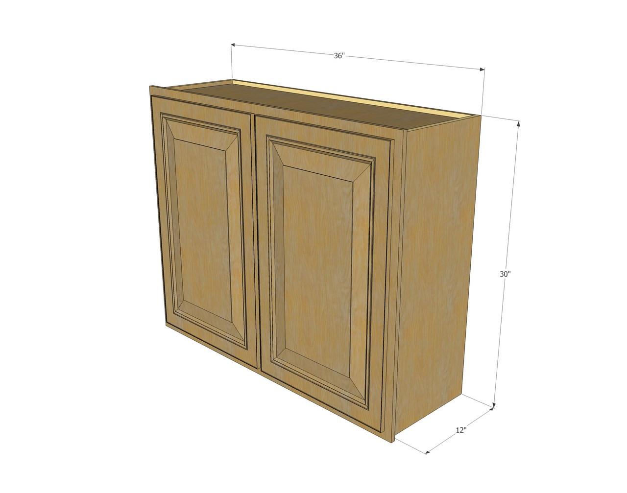 Large Double Door Regal Oak Wall Cabinet 36 Inch Wide X