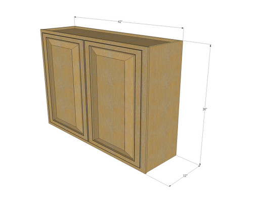 Large Double Door Regal Oak Wall Cabinet - 42 Inch Wide x ...