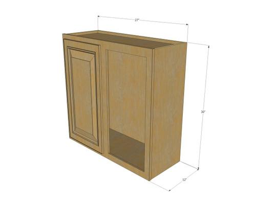 single door straight corner regal oak blind wall cabinet 27 inch wide x 30 inch high kitchen. Black Bedroom Furniture Sets. Home Design Ideas