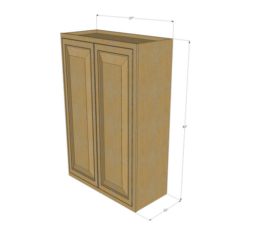 Large Double Door Regal Oak Wall Cabinet 27 Inch Wide X 42 Inch High