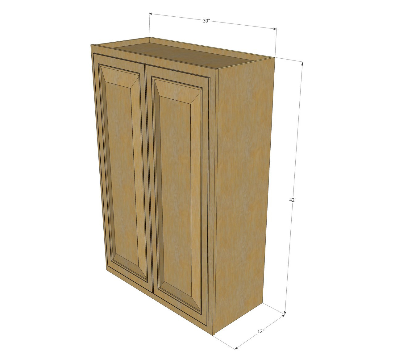 large double door regal oak wall cabinet - 30 inch wide x 42 inch