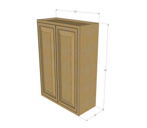 Large Double Door Regal Oak Wall Cabinet 33 Inch Wide X