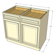 Newport White Large Base Cabinet with Double Doors & Two Drawers - 42 Inch Width
