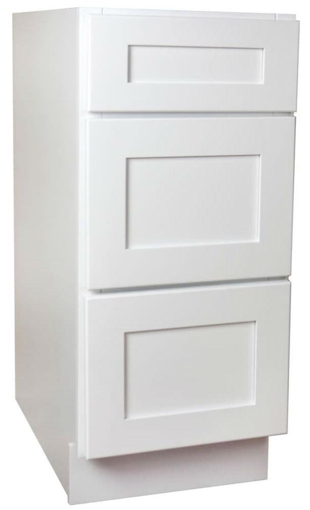 Arcadia White Shaker 3 Drawer Base Cabinet 18 Inch ...