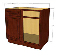 Brandywine Maple Straight Corner Blind Base Cabinet 42 to 45 Inches