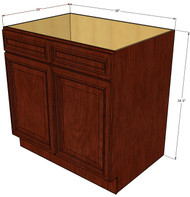 Brandywine Maple Sink Base Unit with 2 False Drawers 36 Inch