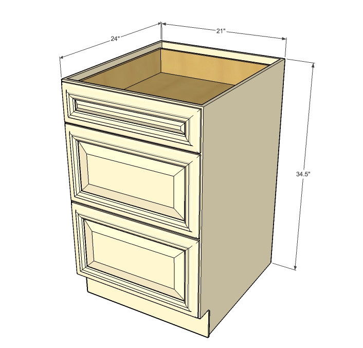 Biltmore Pearl 3 Drawer Base Cabinet 21 Inch - Kitchen ...