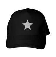 Reflective Black Cap -  Star  -  Silver