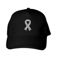 Reflective Black Cap -   Awareness Ribbon - Silver