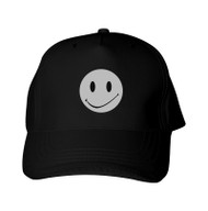 Reflective Black Cap - Happy Face - Full circle