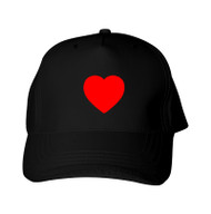 Reflective Black Cap  - Heart -  Red