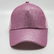 Women Glitter Ponytail Baseball Cap - Pink - On Sale