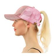 Women Glitter Ponytail Baseball Cap - Pink - On Sale