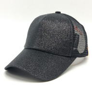 Women Glitter Ponytail Baseball Cap -  Black - On Sale